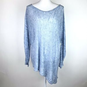 Eileen Fisher Asymmetrical Linen Top  Blue Long